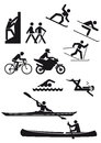 Silhouetted sports characters Royalty Free Stock Photo