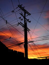 Silhouetted Telephone and Power Pole and Wires, La Canada, California Royalty Free Stock Photo