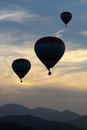 Silhouettes of balloons in the late evening Royalty Free Stock Photo