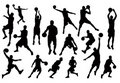 Silhouettes of Basketball Players Vector Royalty Free Stock Photo