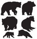 Bears vector silhouettes