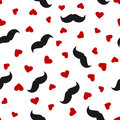 Silhouettes of black men`s mustaches and red hearts scattered on a white background. Seamless pattern. Royalty Free Stock Photo