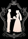 Silhouettes of the bride and groom in a frame_4 Royalty Free Stock Photo