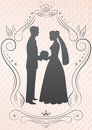 Silhouettes of the bride and groom_image Royalty Free Stock Photo