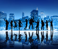 Silhouettes of Business People Jumping Royalty Free Stock Photo