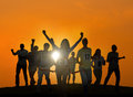 Silhouettes of Business People Winning Concept Royalty Free Stock Photo