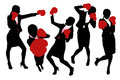 Silhouettes of business woman boxing and punching competition concept Royalty Free Stock Photography