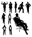 Silhouettes of businessman and businesswomen.