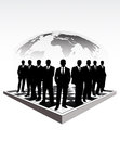 Silhouettes of businessmen on a chessboard pictures show group the background the planet Stock Image