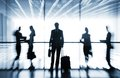 Silhouettes of businesspeople several interacting background airport Royalty Free Stock Photo