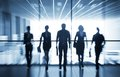 Silhouettes of businesspeople several interacting office background Royalty Free Stock Photography