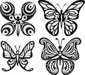 Silhouettes of butterflies with open wings tracery. Black and white drawing. Dining decor