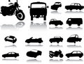 Silhouettes of cars, motorcycles and buses Stock Photo