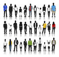 Silhouettes of Casual People with Colourful Clothes Royalty Free Stock Photo