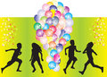 Silhouettes of children with balloons Stock Photos