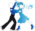 Silhouettes of children ice skating on a transparent background the girl in blue dress and with stylized hair boy in the blue Stock Photo