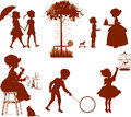 Silhouettes of children set retro Stock Photo