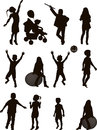 Silhouettes children vector format isolated white background Royalty Free Stock Photo