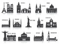 Silhouettes of cities set for you design Stock Photos