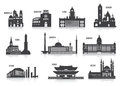 Silhouettes of cities set for you design Royalty Free Stock Image