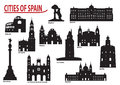 Silhouettes of cities in Spain Royalty Free Stock Photo