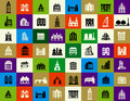 Silhouettes of city buildings vector in the form buttons Stock Images