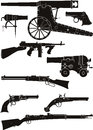 Silhouettes of classic firearms set different historical periods Stock Photo