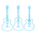 Silhouettes of classic guitars isolated on white, Stock Photo