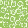 Silhouettes of Clock Icon Seamless Pattern Royalty Free Stock Photo