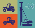 Silhouettes of construction equipment set pile driver and road rollers eps opacity Stock Photos