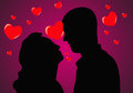 Silhouettes of couples in love on a pink background with hearts.