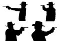 Silhouettes of cowboy with a pistol isolated on white Royalty Free Stock Image