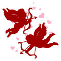 Silhouettes of Cupid for Valentine's day. Royalty Free Stock Photography