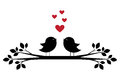 Silhouettes of cute birds sing and red hearts Royalty Free Stock Photo