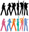 Silhouettes of Dancing Peoples Stock Image