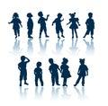 Silhouettes de gosses Photographie stock libre de droits
