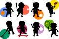 Silhouettes de gosses [sport 1] Images stock