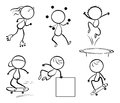 Silhouettes of the different activities illustration on a white background Stock Photography