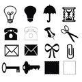 Silhouettes of different objects on a white background Royalty Free Stock Photo