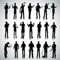 Silhouettes of different professions men set various people on abstract background Royalty Free Stock Photography