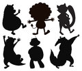 Silhouettes of different wild animals illustration the on a white background Stock Image