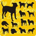 Silhouettes of dogs vector set dog breeds vinyl ready illustration Royalty Free Stock Photos