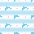 Silhouettes of dolphins on striped background seamless vector pattern