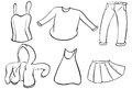 Silhouettes of dresses illustration the on a white background Stock Images