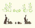 Silhouettes of Easter bunnies