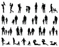 Silhouettes of families Royalty Free Stock Photo