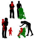 Silhouettes of family with children.