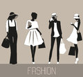 Silhouettes of Fashion women. Royalty Free Stock Photo