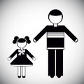 Silhouettes of father and daughter