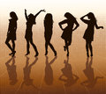 Silhouettes of females Stock Photography